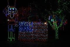 LOCOMATO PARK LIGHTS WITH CHRISTMAS LIGHTS Stock Photo