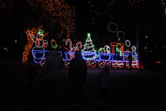 LOCOMATO PARK LIGHTS WITH CHRISTMAS LIGHTS. Lewiston /Idaho /USA_ 13 December  2015 _ Lewiston reisents walk through locomaoto park through and enjoy lokking at Royalty Free Stock Images