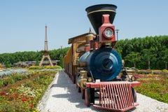 Locomotief bij de tuin dichtbij het bloemgebied stock fotografie