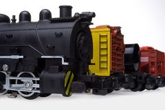 Locomotief en goederenwagonnen royalty-vrije stock afbeelding