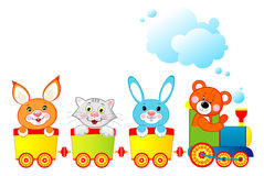 Locomotief met dieren Royalty-vrije Stock Foto's