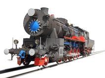 Locomotief over wit wordt geïsoleerd dat Royalty-vrije Stock Foto
