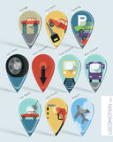 Locomotion map pins set Royalty Free Stock Image