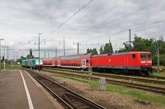 Locomotiv DB 112 159在克雷菲尔德岗位 免版税图库摄影