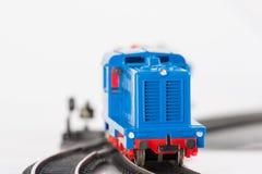 Locomotiva blu due del giocattolo Fotografia Stock