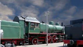 Locomotiva de vapor antiga, museu de Moscou da estrada de ferro em Rússia, estação de trem de Rizhsky vídeos de arquivo