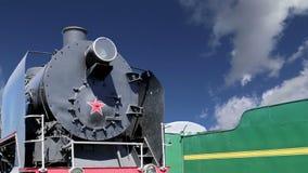 Locomotiva de vapor antiga, museu de Moscou da estrada de ferro em Rússia, estação de trem Rizhsky vokzal, estação de Rizhsky de  filme
