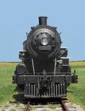 Locomotiva de vapor do trem da vista dianteira. Fotos de Stock Royalty Free