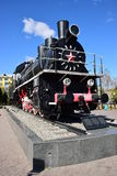 Locomotiva de vapor histórica na exposição em Astana Imagens de Stock