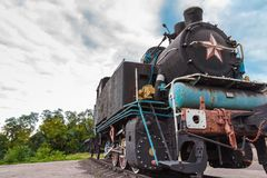 Locomotiva de vapor oxidada velha Fotos de Stock Royalty Free