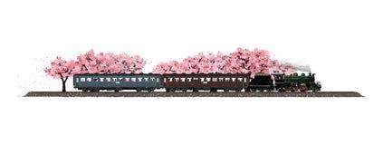 Locomotiva de vapor que corre na primavera ilustração stock