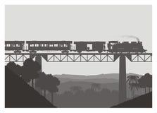 Locomotiva de vapor que transporta o frete e o automóvel de passageiros Imagem de Stock Royalty Free