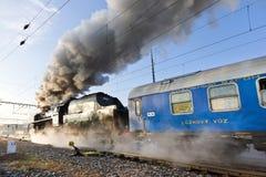 Locomotiva de vapor 475 1, república checa Imagem de Stock