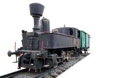 Locomotiva de vapor velha com o treinador em trilhas e isolado no fundo branco fotografia de stock royalty free
