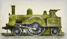 Locomotiva de vapor verde do vintage de idades do meio 19 ilustração royalty free