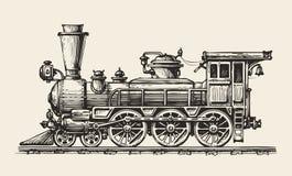 Locomotiva dell'annata isolata Retro treno disegnato a mano Schizzo, illustrazione di vettore Fotografie Stock