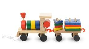 Locomotiva di vapore di legno dei bambini un giocattolo Immagine Stock