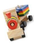 Locomotiva di vapore di legno dei bambini un giocattolo Immagine Stock Libera da Diritti