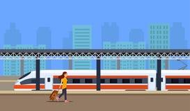 Locomotiva e passageiros na plataforma ilustração royalty free