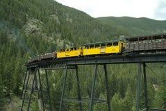 Locomotiva e vagões cobertos na ponte de cavalete 2 Fotos de Stock