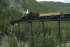Locomotiva e vagões cobertos na ponte de cavalete Fotos de Stock Royalty Free
