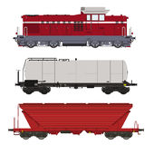 Locomotiva e vagoni messi Immagini Stock