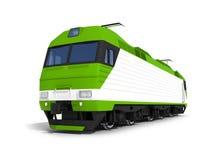 Locomotiva elettrica bianca verde moderna Fotografia Stock