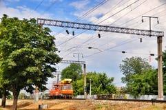 Locomotiva ferroviaria arancio Fotografia Stock Libera da Diritti