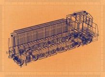 Locomotiva - modelo retro ilustração stock