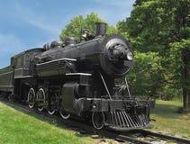 Locomotiva nera della ferrovia del motore a vapore Fotografie Stock