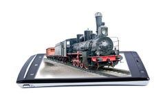 Locomotiva no smartphone da exposição collage imagem de stock
