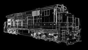 Locomotiva railway diesel moderna com grande potência e força para mover o trem de estrada de ferro longo e pesado vídeo 3d ilustração do vetor
