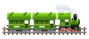 Locomotiva retro verde com ônibus Fotografia de Stock