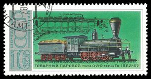 Locomotiva russa 1863 del trasporto Fotografia Stock
