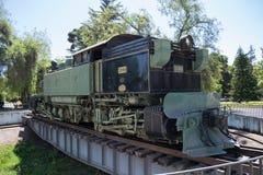 Locomotiva su esposizione al museo ferroviario del Cile immagine stock