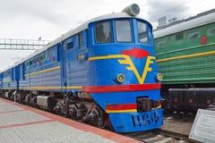 Locomotiva TE 7 do passageiro do Mainline Museu de Novosibirsk do railwa foto de stock royalty free