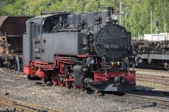 Locomotiva a vapore alla ferrovia della valle di Weisseritz, Sassonia, Germania fotografia stock