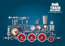 Locomotiva a vapore o treno dalle parti meccaniche Fotografie Stock Libere da Diritti