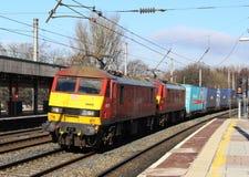 Locomotivas elétricas com trem de mercadorias, Lancaster Imagem de Stock