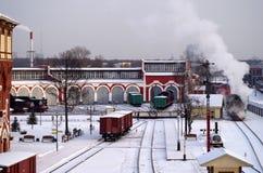 Locomotive à vapeur dans le depo Photographie stock