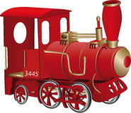 Locomotive. Children's toy red steam locomotive Royalty Free Stock Photography