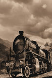 Locomotive. Sepia photo of old fashioned steam engine stock images