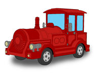 Locomotive. Colored cartoon illustration of a touristic train locomotive at white background Stock Photos