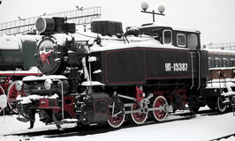Locomotive. Old Soviet locomotive at a train station in winter Royalty Free Stock Photography