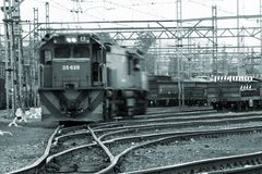 Locomotive. Locomitve moving towards Stock Photography