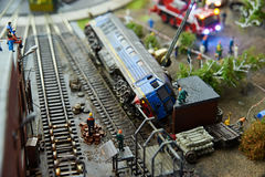 Locomotive accident. On railway. Miniature model Royalty Free Stock Images