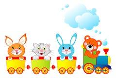 Locomotive with animals vector illustration