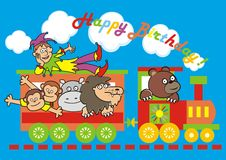 Locomotive and animals, birthday. Birthday cards for kids. Animals in the train Royalty Free Stock Photography
