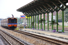 Locomotive arrived to railway station, Thailand. Stock Images