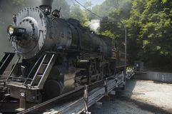 Locomotive aucune 734 préparent pour partir Frostburg Images libres de droits